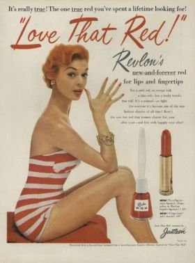 Trust me, this is the best red lipstick you will ever smear on your face.  Bonus: this is a real ad, and they're still making this shade.